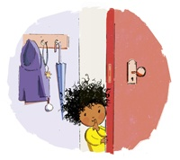 Illustration of a little girl peering around a door from Kate's book Quiet