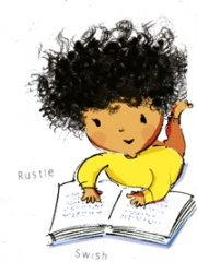 Illustration of a little girl reading from Kate's book
